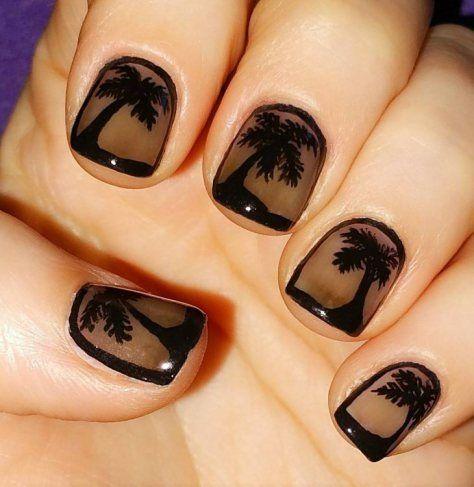 palm tree nail art by aline