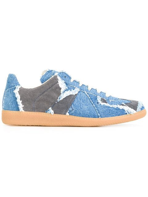 Shop Maison Margiela Replica denim sneakers.