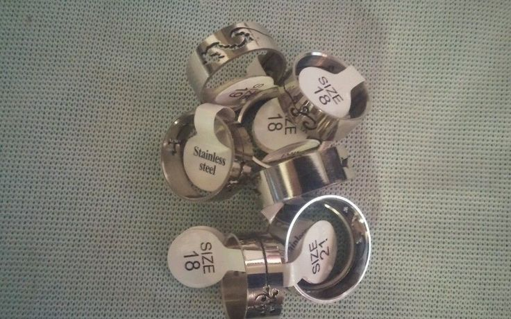 Lot of 9 Designed Stainless Steel Ring Band in Jewelry & Watches   eBay