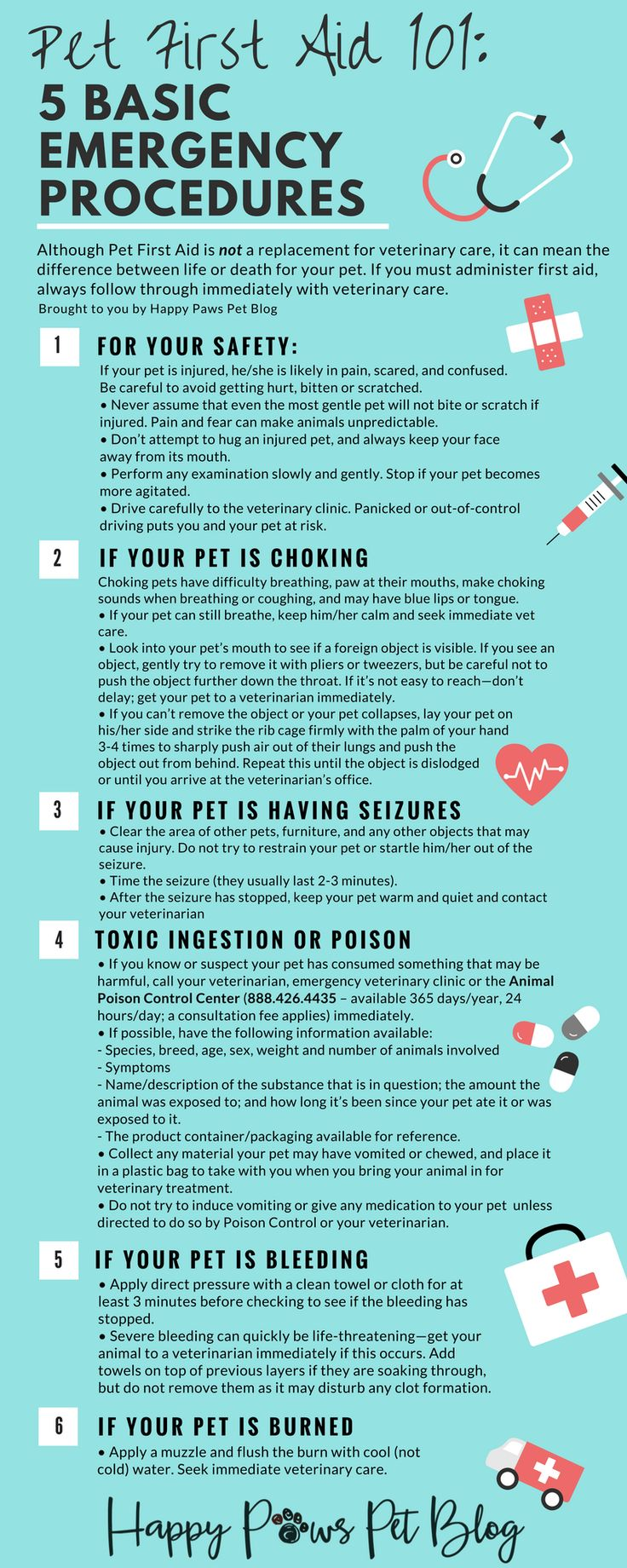 Although first aid is not a replacement for going to your veterinarian, it can mean the difference between life or death for your pet. If you must administer first aid, always follow through immediately with veterinary care. Here's some good advice on dealing with the top 5 basic emergencies; choking, seizures, toxic ingestion or poison, bleeding and burns.