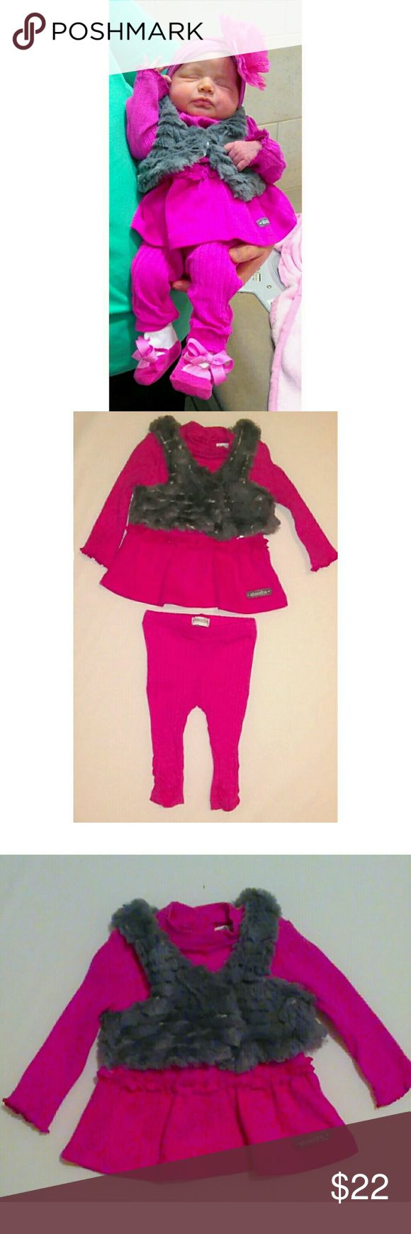 Hot Pink Sweater Outfit Super adorable sweater outfit for your little girl. This outfit is 0-3 months. Only worn once for a few hours only. Absorba Matching Sets