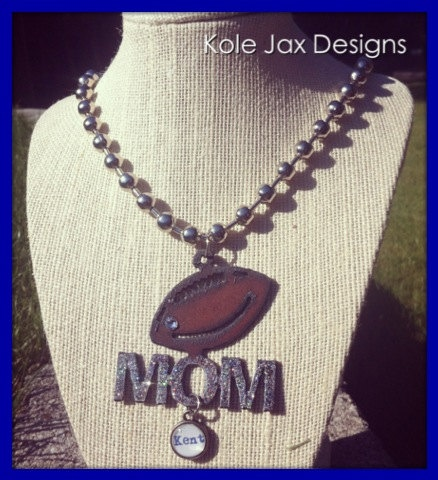 Football Mom Personalized Necklace by kolejaxdesigns on Etsy