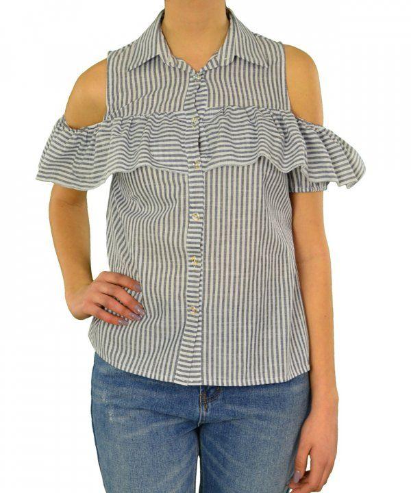 Γυναικείο πουκάμισο Lipsy ριγέ γκρι με βολάν 1170504 #γυναικείαπουκάμισα #ρούχα #στυλάτα #fashion #μόδα #γυναίκες #βραδυνά #μεταξωτά
