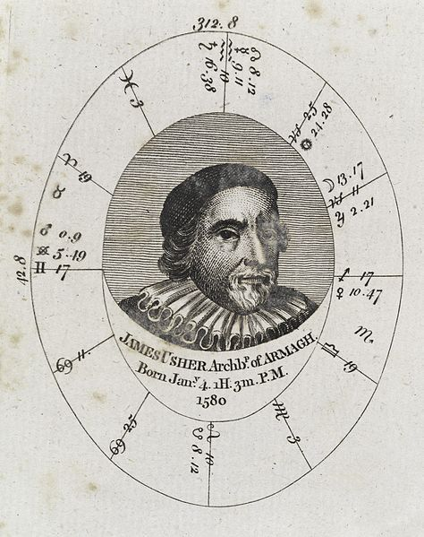 Astrological birth chart for James Ussher, Archbishop of Armagh.