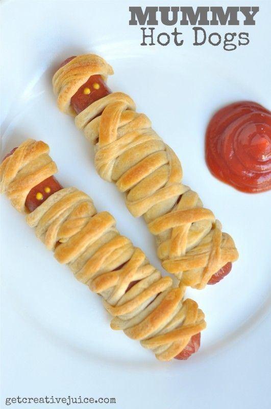 Just do twists for year round  Mummy Hot Dog Recipe, Kids Mummy Hot dogs, Hot dog recipes, halloween kids food