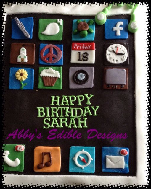 Edible Cake Images Iphone : iPhone iPad cake topper EDIBLE IPHONE CAKE Topper Cakes ...