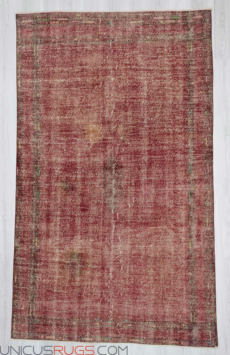 "Handknotted vintage decorative modern red coloured Turkish art deco rug from Isparta region of Turkey. In good condition. Approximatelly 55 years old. Wool on cotton. Width: 5' 8"" - Length: 9' 6"" Vintage Art Deco Rugs"