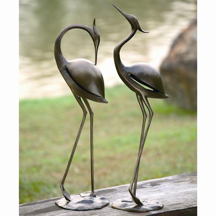 SPI Garden Collection Stylized Garden Heron Pair Sculpture
