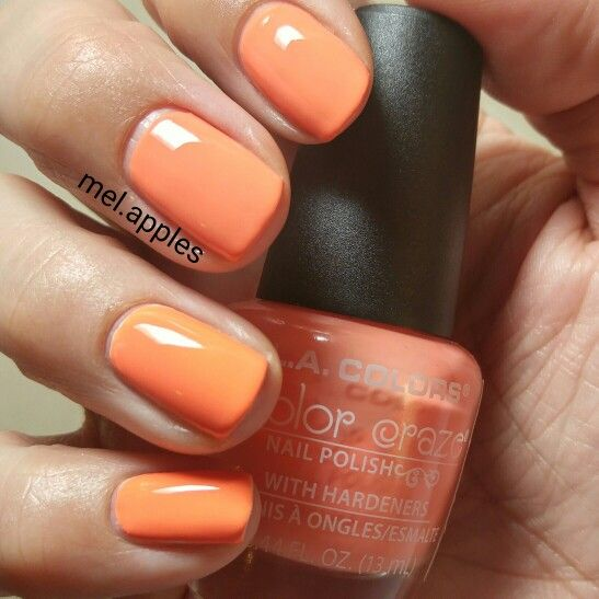 L.A. Colors Color Craze Hottie (light version) CNP534 (A). Light coral cream. Three coats. Formula is smooth and applies evenly.