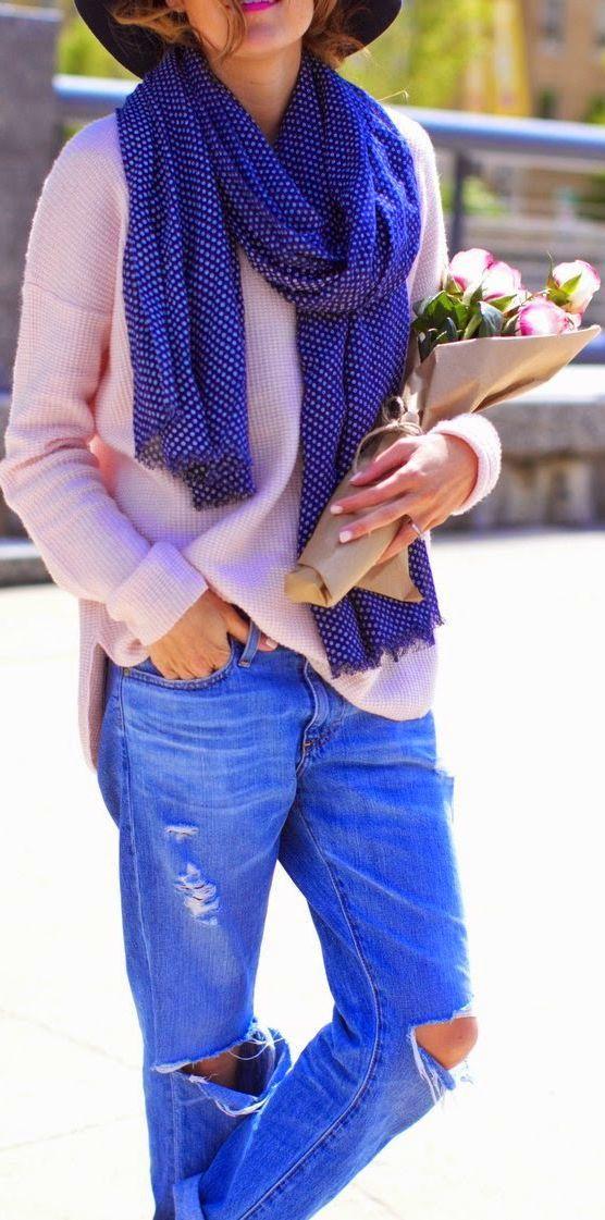 Gap Blue White Dot Women's Scarf by Hello Fashion