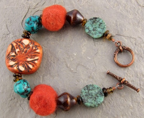 Tigerlily bracelet with polymer clay focal bead by Humble Beads.  -Linda Landig Artisan Jewelry