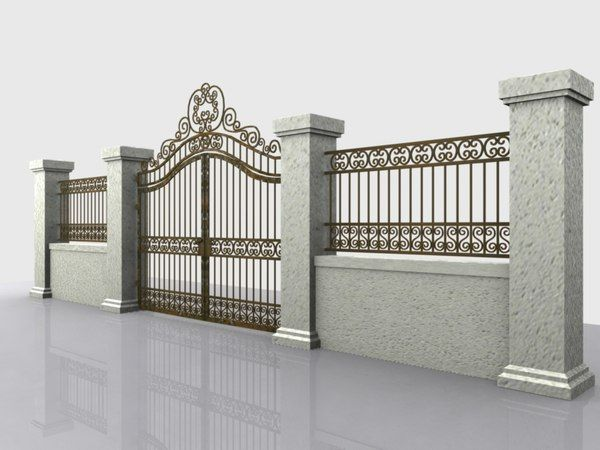 3d Wrought Iron Gate Model In 2020 House Fence Design Home Gate Design House Gate Design