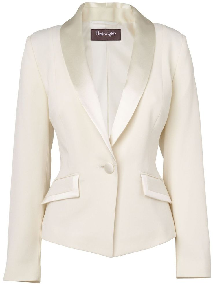 Women's Paula Tuxedo Jacket, Ivory - pattern: plain; style: single breasted tuxedo; hip detail: side pockets at hip, front pockets at hip, dip hem; collar: shawl/waterfall; predominant colour: ivory/cream; occasions: casual, evening, work, occasion; length: standard; fit: tailored/fitted; fibres: polyester/polyamide - stretch; waist detail: fitted waist; bust detail: contrast pattern/fabric/detail at bust; back detail: embellishment at back; sleeve length: long sleeve; sleeve style…