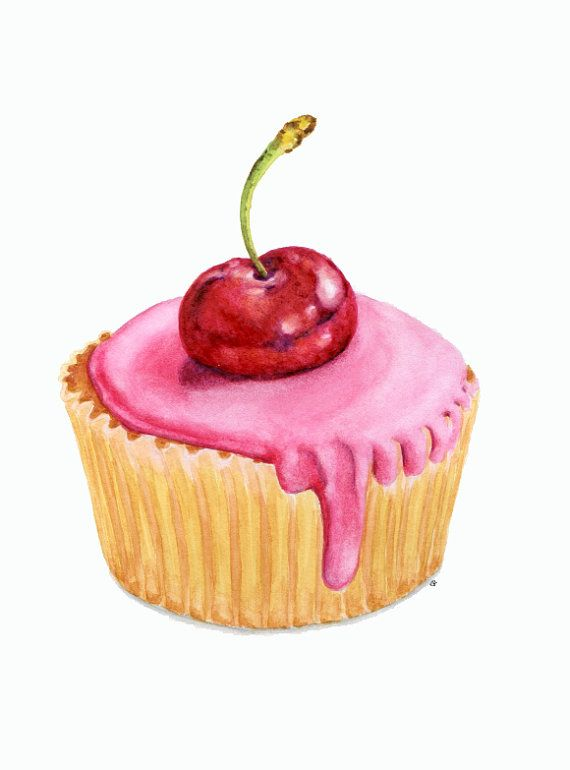 Pink Cupcake with Cherry- ORIGINAL Painting (Desset Illustration, Still Life, Watercolour Food Wall Art)