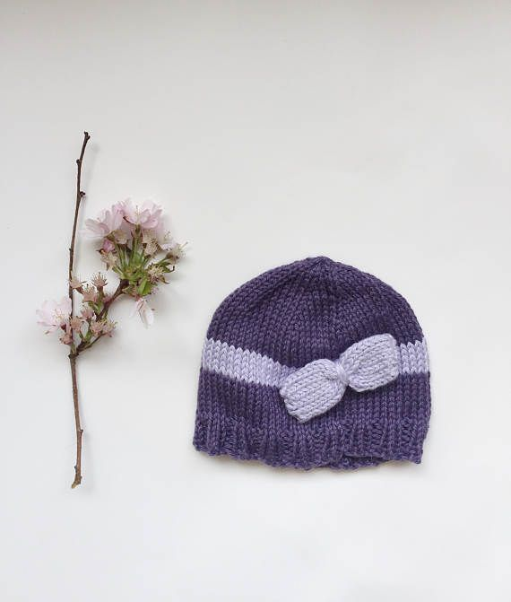Knitted baby girl hat knit baby hat with bow purple hat