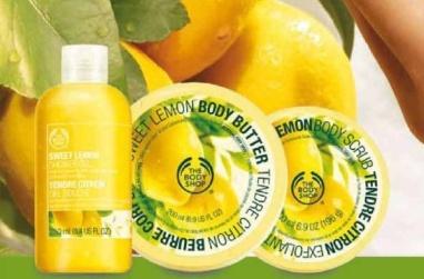 Produkty Sweet Lemon są przeznaczone dla skóry od normalnej po suchą, ich przewodnim składnikiem jest bogaty w antyoksydanty, tłoczony na zimno olejek z pestek włoskich cytryn. Pozostałe komponenty to masło kakaowe, masło shea, organiczny cukier z Paragwaju, olejek orzecha brazylijskiego, olejek sojowy i organiczny miód. Pozyskano je z upraw Zrównoważonego Handlu.