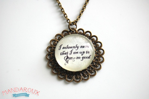 """I Solemnly Swear That I Am Up To No Good"" filigree necklace"