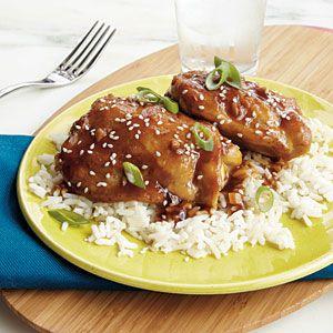 Sesame-Ginger Chicken. 310 calories per serving (2 chicken thighs, 1/3 cup sauce).