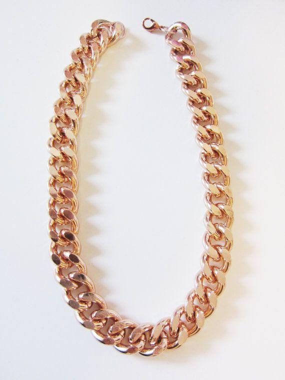 Oversize Rose Gold Bracelet & Necklace Set by YuniKelley on Etsy