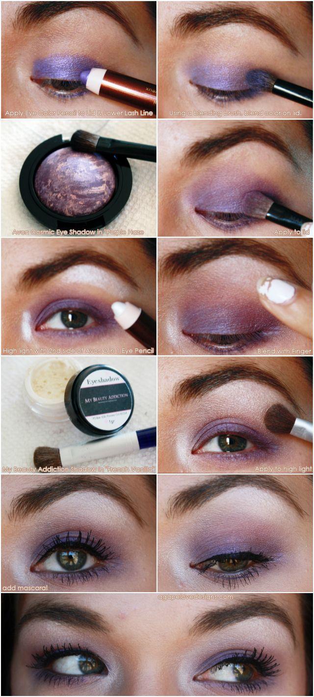 Agape Love Designs: Avon Cosmic Eye Shadow EOTD Pictorial #avon #tutorial #makeup #beauty #purple #greeneyes #eyeshadow #pictorial: