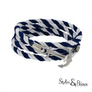 Bracelet ancre marine acier