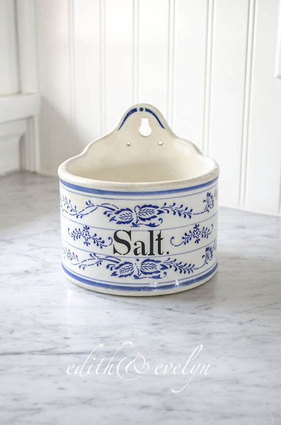 Antique German Blue Onion Salt Box Blue and by edithandevelyn