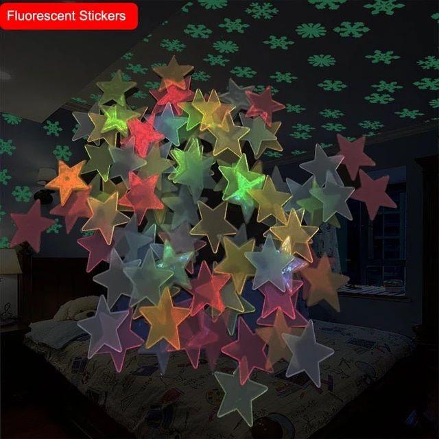 Pegatina Fluorescente 3d 100 Uds Estrellas 50 Uds Pegatina De Plástico De Copo De Nieve Que Brilla En La Oscuridad Luminosa Patrón Diy Pegatinas Alie In 2020