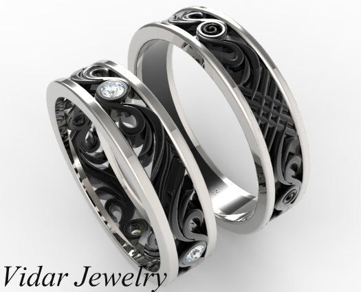 Matching Wedding Band Set His And Hers Diamond Unique Black Gold Two Tone