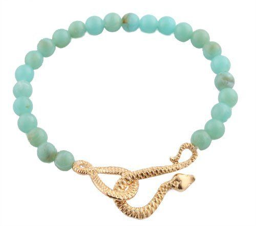 Ladies Turquoise Beads with Gold Infinity Snake Beaded Stretch Bracelet JOTW. $2.95. Great Quality Jewelry!. 100% Satisfaction Guaranteed!