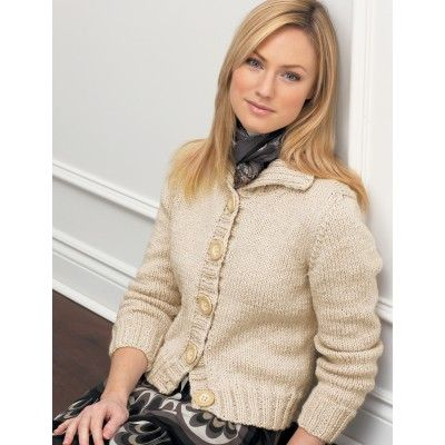 Free Pattern - Classic Collar Cardigan with Straight Sleeves - Bernat