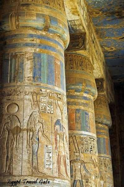 Egypt Low Cost Holidays; Pillars at the temple of Ramses III in Luxor, Egypt…
