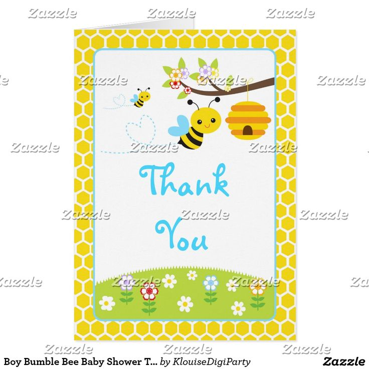 Boy Bumble Bee Baby Shower Thank You Card