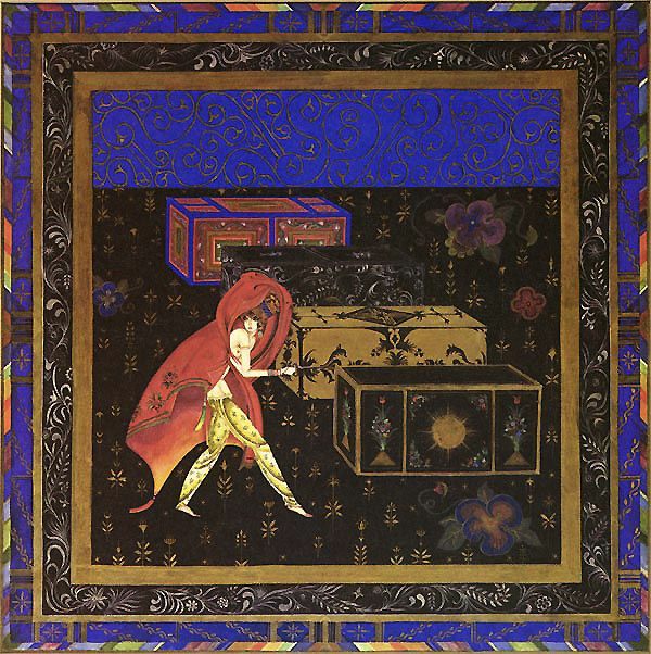 The Favorite smuggles a young man into the harem  in a box with other presents for the Sultan's Wife  - Tale of The Sultan's Wife, the Arabian Nights Artsy Craftsy    Title: The Favorite, Arabian Nights - Kay Nielsen    The Oral Tradition of the Arabian Nights  The Arabian Nights, the stories we know as the Thousand and One Nights are very old, having existed in their present form as early as the 13th century and many of them were told, by some accounts, as early as the 9th century. The…