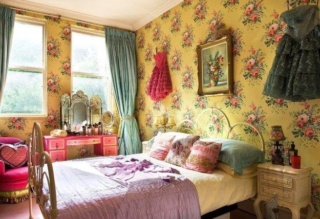Decorazioni floreali per la camera vintage - Carta da parati con fantasia floreale per la stanza da letto