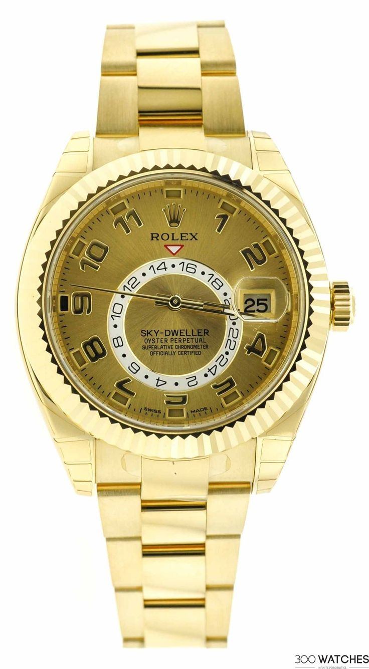 Men's Rolex Sky-Dweller 326938 18K Yellow Gold Automatic Date Watch