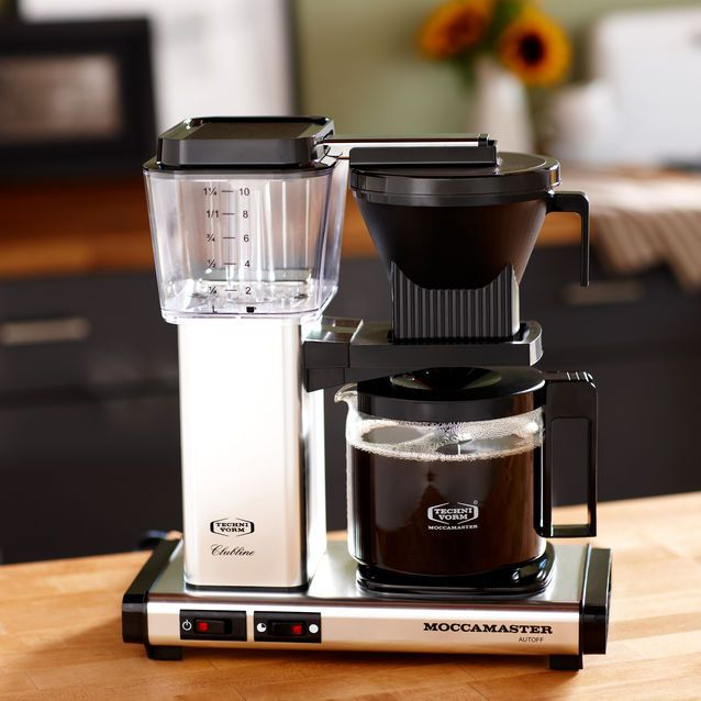 The top model coffee maker handmade by Moccamaster that brews 10 cups in 6 minutes and includes ...