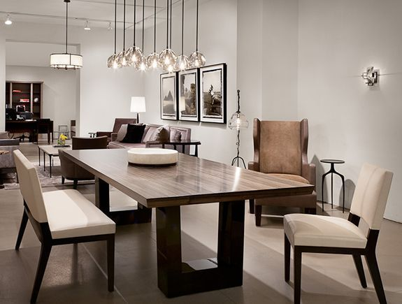 Nice Salle à Manger   Contemporary Dining Room. Love The Modern Wood Dining  Table, The Chandelier Ligh.