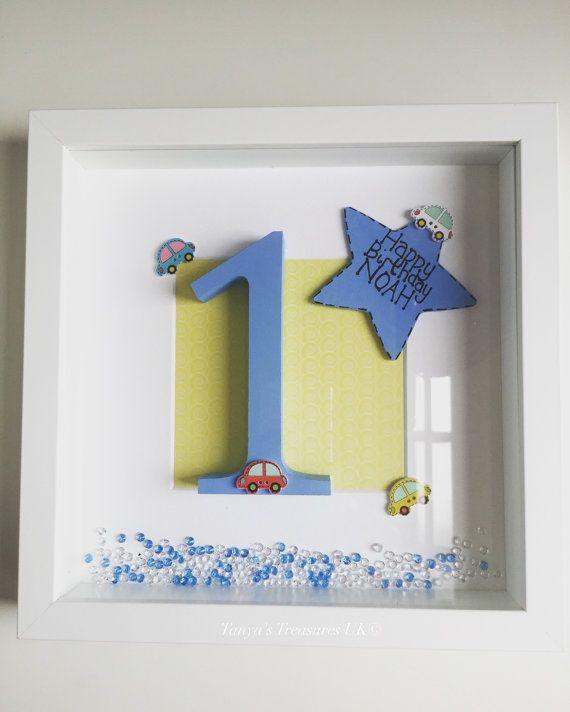 Handmade Frame For Baby Boy 1st Birthday by TanyasTreasuresx