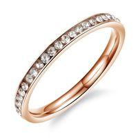 Кольцо из нержавеющей стали розовое золото цвет ювелирные изделия обручальные кольца для женщин обручальное кольцо кристалл ювелирные изд...