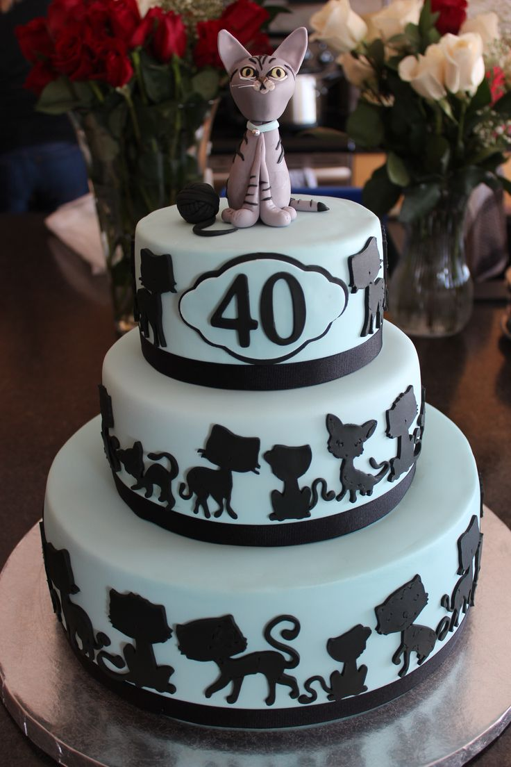Birthday Cake Photos - 40th birthday cake. Client requested that the cake have 40 cats on it, as well as the topper that resembled the family cat.