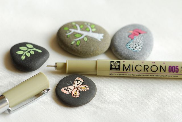 Painted Stones with pigment pen. Much easier than a brush!