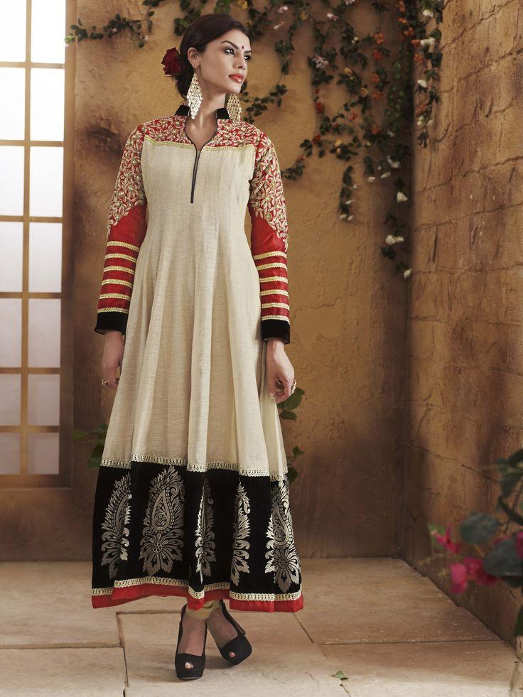 Shop Online http://www.ethnicdukaan.com/art-silk-anarkali-with-zari-embroidery-stone-embellishment-d0302004