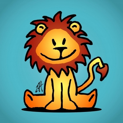 Lachend leeuwtje op een wenskaart  (© Ernest van Hout, Cardvibes.com - Tekenaartje.nl )  #Sendasmile