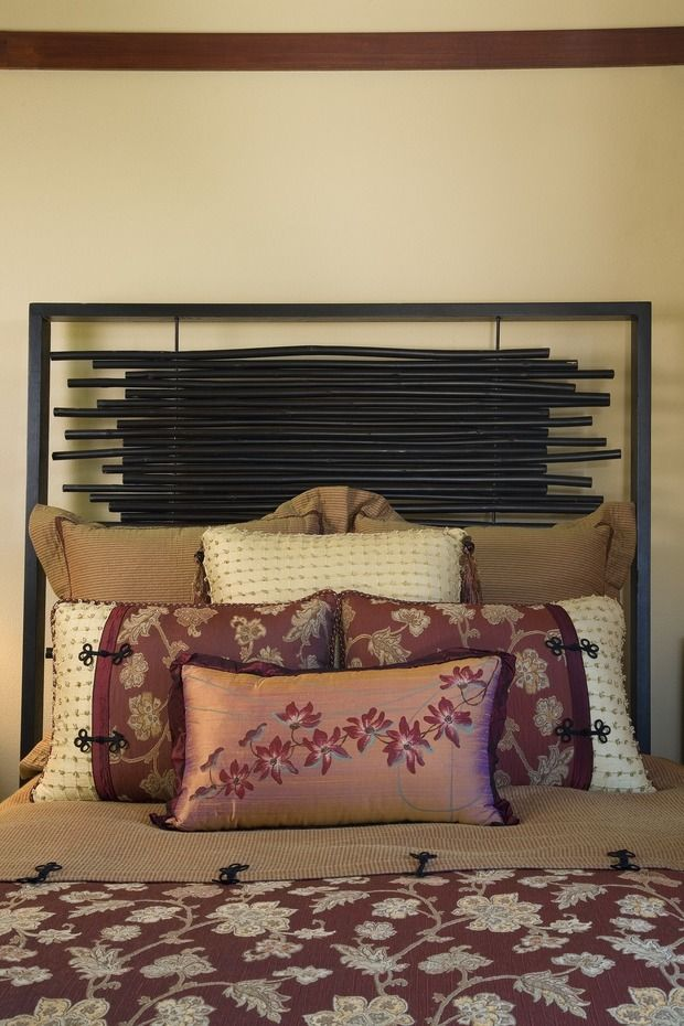 Transform your master bedroom into an elegant retreat with this black painted bamboo headboard and the classic asian floral bedding. Perfect for weekend sleep-ins.