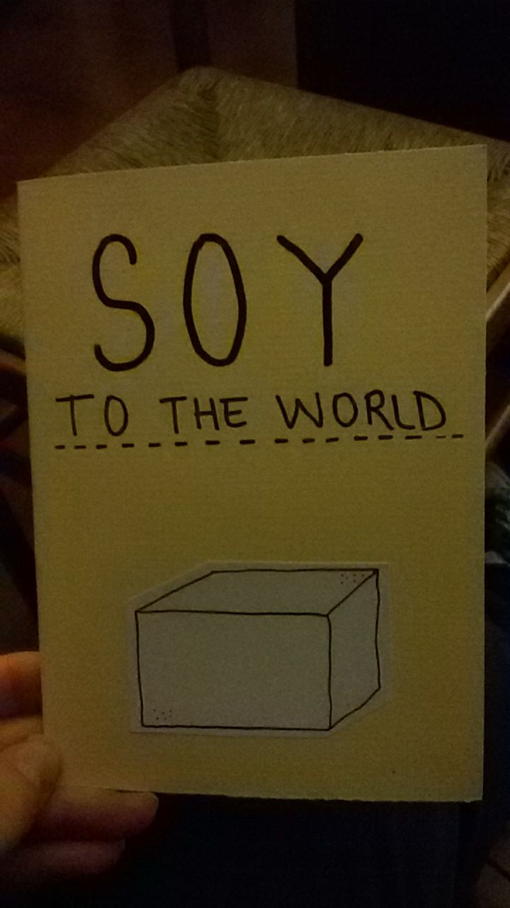 SOY TO THE WORLD ^^ Christmas greeting card for the nature lovers^^ vegan tofu minimalist illustration