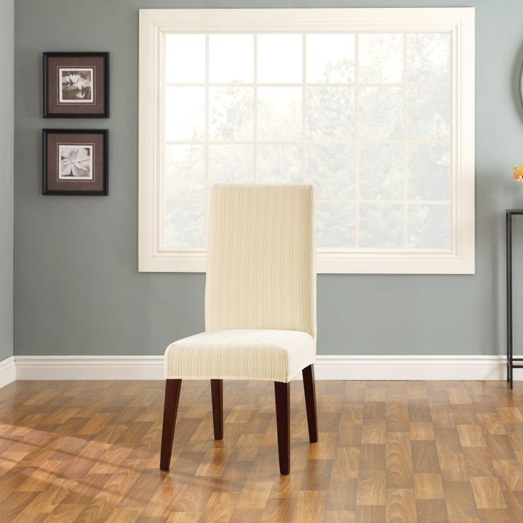 Sure Fit Stretch Pinstripe Short Dining Room Chair Cover Cream