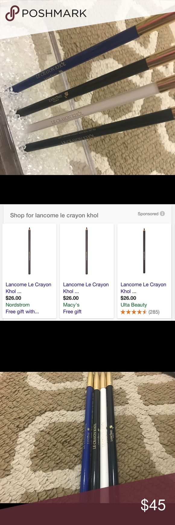 """New. Lancôme Le Crayon Khol Liner(s) Retail each is $26(+tax) will sell 2 for $25 if you pick 2 colors I'll make a separate listing. Or all 4 together. Colors: """"Le Bleu De Jim"""" """"Gris Nior""""  """"Blanc"""" """"Black Lapis""""   * I'm selling new, never used Lancôme products for a sales rep. She accrued a ton of products over the last few months. Full size. Lancome Makeup Eyeliner"""