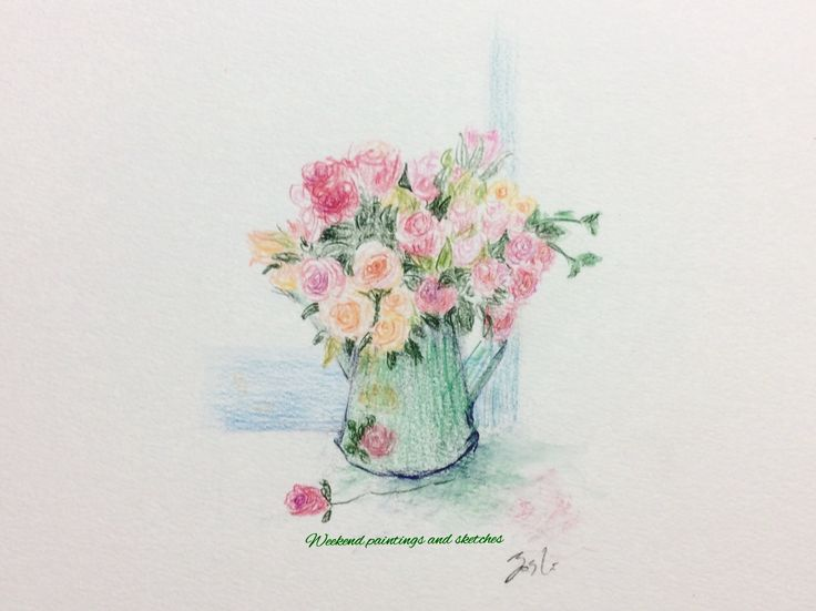 Flowers by the sea Watercolour pencils