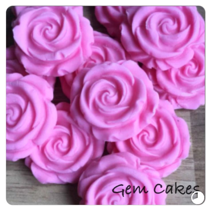 Edible baby Shower christening Pink Roses cupcake toppers decorations for Girls