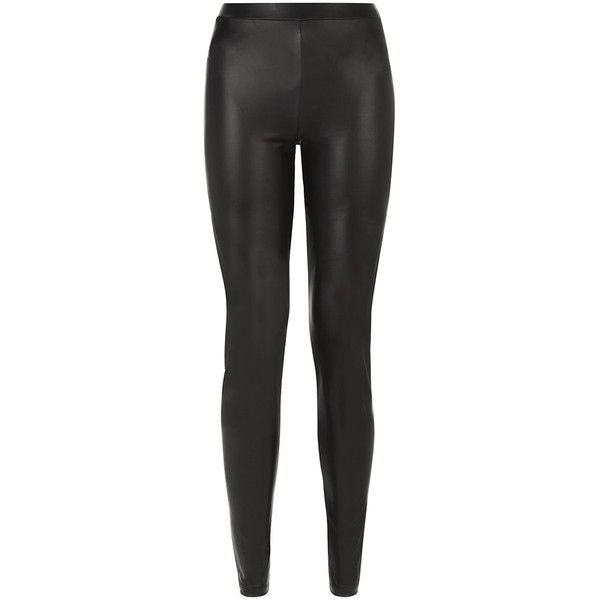 JDY Black Leather-Look Leggings (37 BRL) ❤ liked on Polyvore featuring pants, leggings, bottoms, bottoms leather, trousers, fake leather pants, slimming leggings, ankle length pants, faux leather trousers and faux leather leggings